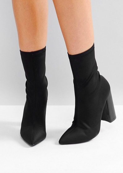 Public Desire Libby Black High Heeled Sock Boots