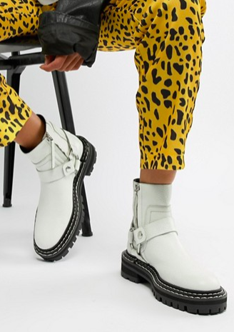ASOS DESIGN Acolade premium leather chunky biker boots