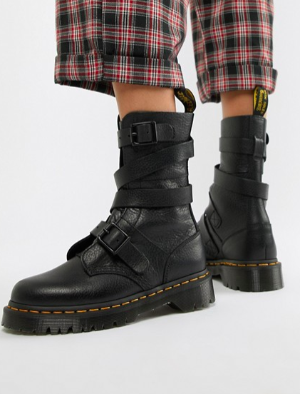 Dr Martens Bevan Black Leather Strappy Flat Ankle Boots