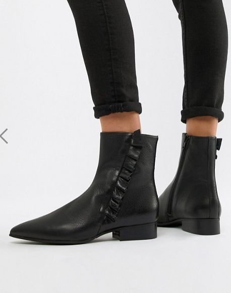 Selected Femme Leather Frill Detail Ankle Boots