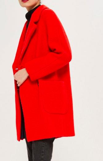 Topshop Seamed Boucle Coat