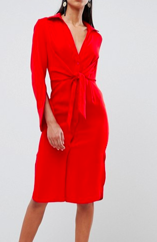 Lavish Alice gathered tie waist shirt dress