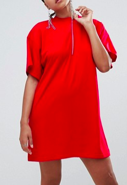 Missguided Zip Front T-Shirt Dress