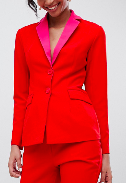 Little Mistress contrast blazer in pomegranate