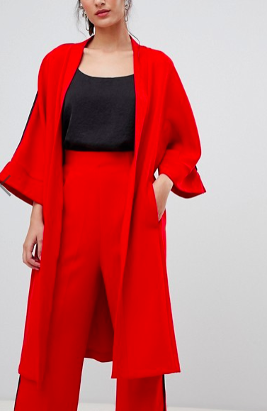 Closet London longline blazer with side stripe in red