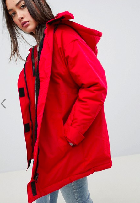ASOS DESIGN fleece lined anorak