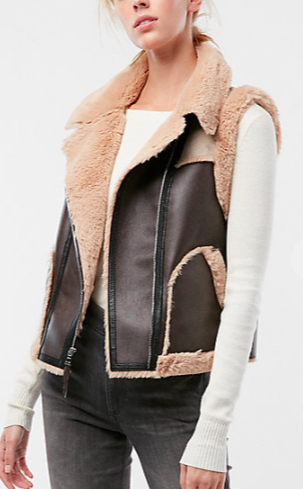 Color Block Faux Fur (Minus The) Leather Vest $80.99 marked down from $128.00