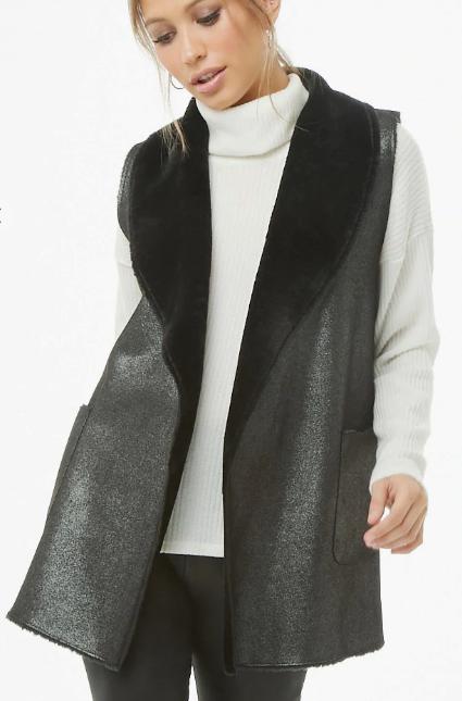 May Logan Glittery Faux Fur Vest