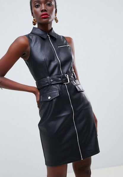 Warehouse faux leather belted mini dress in black