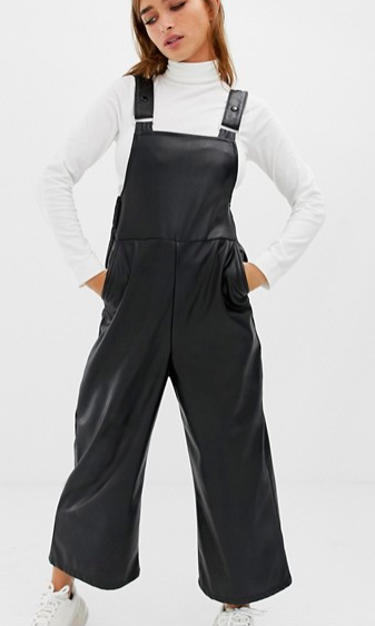 COLLUSION Petite vegan leather look overalls