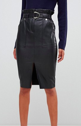River Island faux leather midi skirt in black