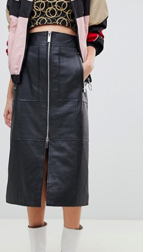 River Island studio leather midi skirt with zip front in black