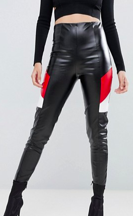 Lasula pu contrast leather look PANTS in black