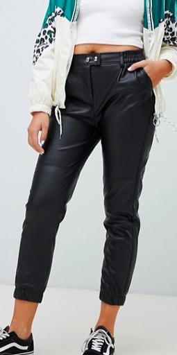 bershka button front faux leather pants