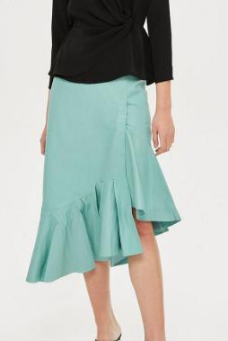 Topshop Asymmetric Peplum Leather Midi Skirt