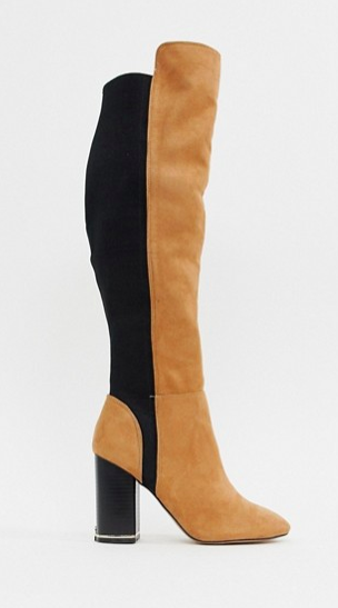 River Island over the knee heeled boots in tan