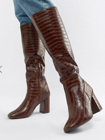 New Look Square Toe High Leg Croc Heeled Boot