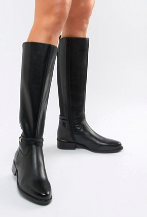 Dune Traviss Black Leather Over The Knee Riding Flat Boots