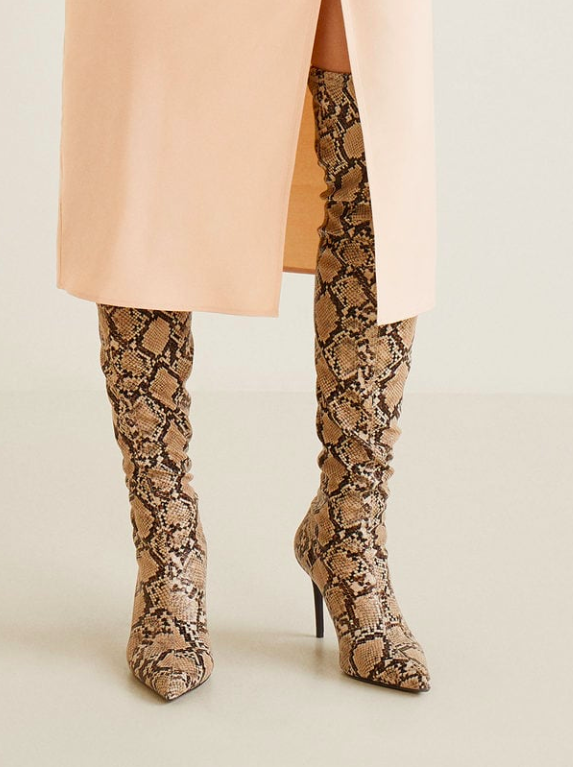 Mango Snake effect high-leg boots