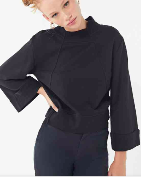 EVIDNT Uneven Seamed Pullover Sweatshirt