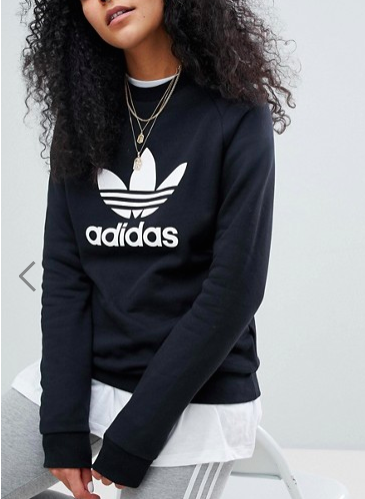Adidas Originals adicolor trefoil oversized sweatshirt in black