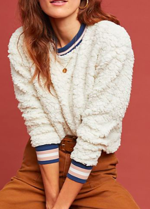 ANTHROPOLOGIE Striped Sherpa Sweatshirt