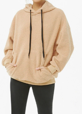 FOREVER 21 Hooded Faux Shearling Sweatshirt