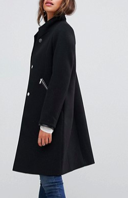 ASOS DESIGN smart funnel neck coat with contrast trim