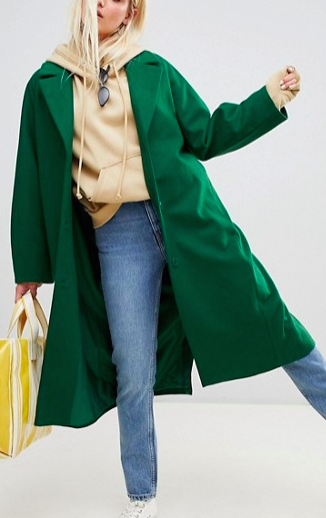 Weekday wool coat in bottle green