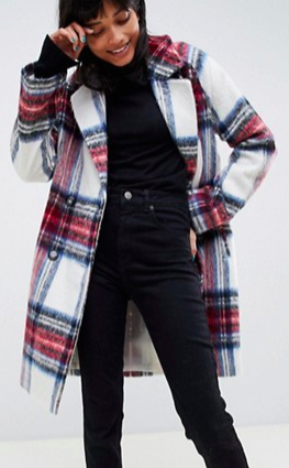 ASOS DESIGN plaid check coat