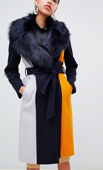River Island tailored coat with faux fur trim in navy