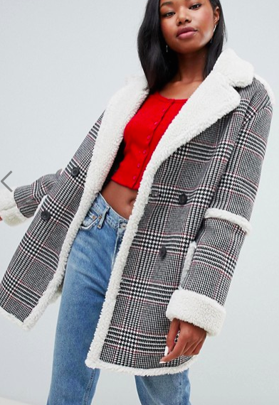 Bershka check teddy long line coat