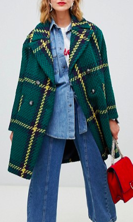 ASOS DESIGN double breasted check coat