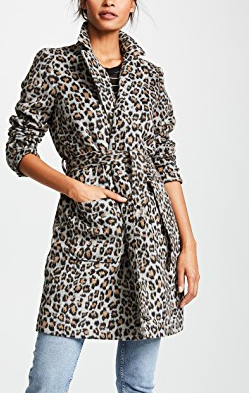 cupcakes and cashmere Fabrice Faux Leopard Wrap Coat