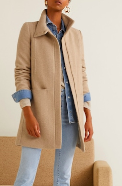 Mango Wool funnel neck coat