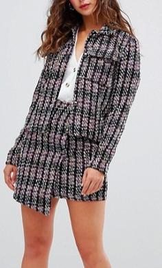 Glamorous wrap mini skirt in textured tweed two-piece