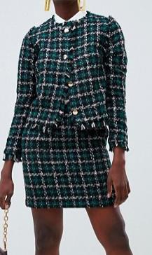 Warehouse pelmet skirt in tweed two-piece