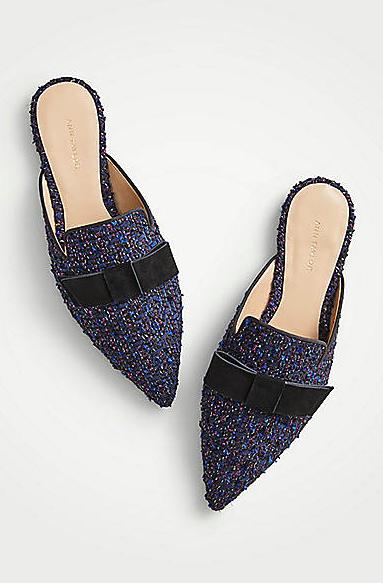 Elsie Tweed Bow Slides