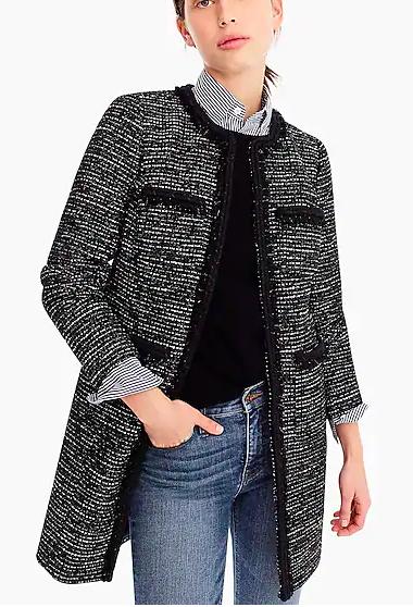 Tweed Lurex® lady coat with braided trim