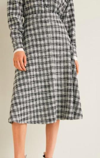 Mango Check tweed skirt