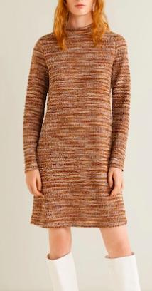 Mango High collar tweed dress