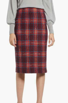 Plaid Tweed Pencil Skirt HALOGEN®