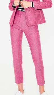 British Tweed Check Velvet Trim Pants BODEN
