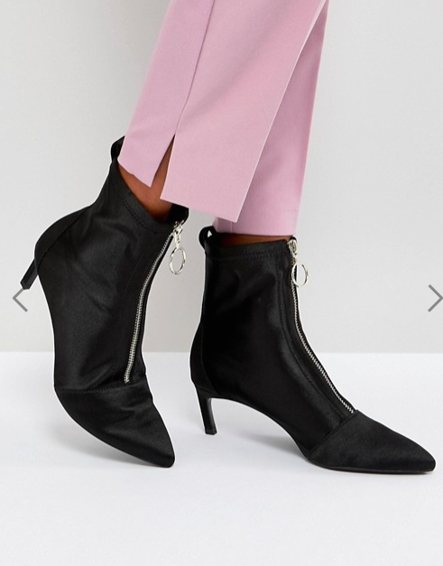 Stradivarius Zip Front Stiletto Boot