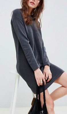 ASOS DESIGN Eco Knitted Mini Dress In Ripple