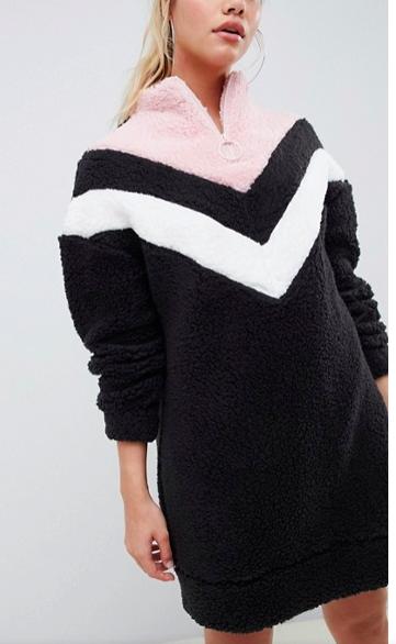 ASOS DESIGN chevron borg sweater dress with zip funnel neck