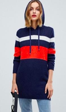 Esprit Stripe Hooded Sweater Dress