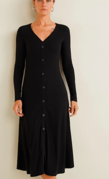 Mango Ribbed buttonned dress