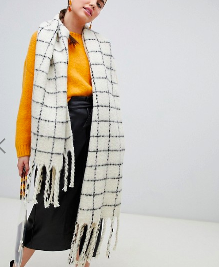 Monki grid scarf in black and white