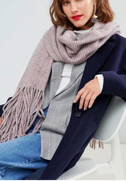 Pieces Stripe Scarf With Long Tassels